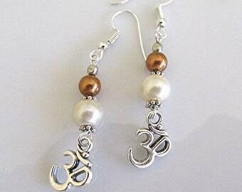 Om earrings pearl earrings dangle earrings charm earrings boho hippie vegan pearl earrings Hindu Buddhist gift.