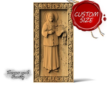 Orthodox gift Matrona icon wood hanging carving wall carved art Religious Russian Christian Catholic Matrona icon wall art decor wood gifts
