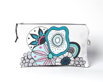 Coral Zipper Pouch, Travel organiser, Cosmetic bag, Makeup bag , Pencil Case, Zipper pouch