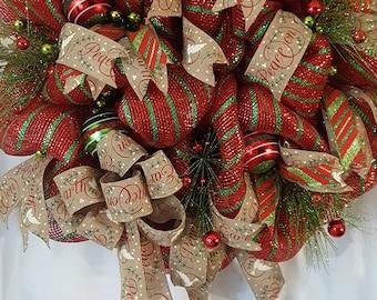 Christmas Deco Mesh Wreath, Christmas Wreath, Deco Mesh Wreath, Christmas Decor, Door Wreath, Outdoor Wreah