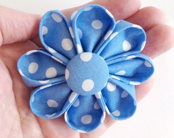 Blue Polka Dots Hair Clip Retro Style - Kanzashi Flower for Hair