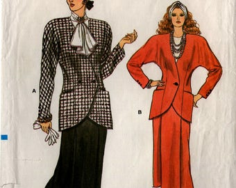 Uncut Misses JACKET & SKIRT Pattern VOGUE #9701 Size 8-10-12 Semi-Fitted Straight Skirt Retro 1986 Very Easy Very Vogue Vintage Sewing