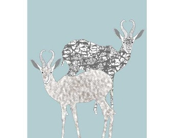 African animals, Antelopes, Illustration Print, Nursery print, giclee print,