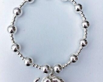 Sterling Silver Large Beaded Elephant Bracelet