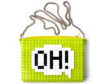 """Lime crossbody purse with """"Oh!"""" comic cloud made with LEGO® bricks FREE SHIPPING handbag trending fashion gift party wedding"""