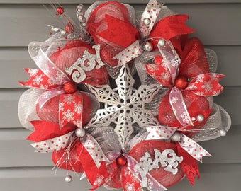 Christmas Wreath For Front Door, Xmas Wreath, Modern Christmas Wreath, Red Silver Mesh Christmas Wreath, Holiday Wreath, Star Wreath