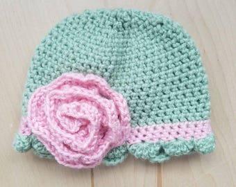 Crocheted Ruffled Hat - Newborn to 3 Months