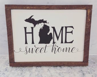 Rustic Home Sweet Home Sign/Custom State Sign