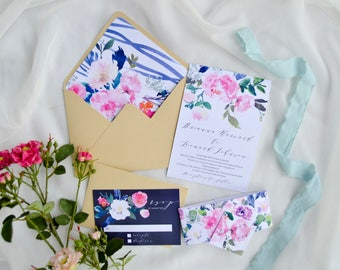 Printable Whimsical Wedding Invitation Template, Garden Wedding Invite, Blush Floral Watercolor Printable Wedding Invitation Suite, Navy