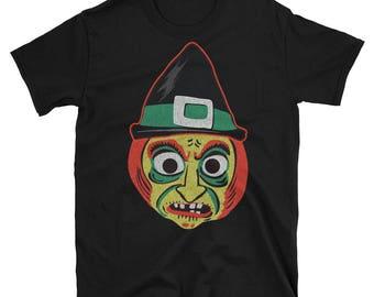 Vintage Kids Hallowen Mask Witch T-shirt