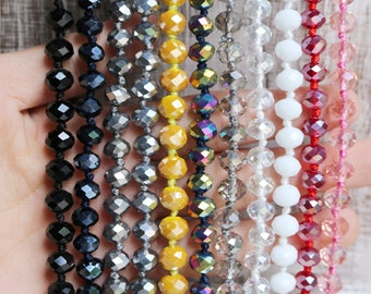 crystal necklaces, rondelle necklaces, hand knotted, 8mm, 45 inches necklace, endless necklace, add your own pendant, pick your color