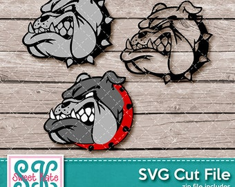 Bulldog Head SVG dxf EPS png JPG htv Heat Transfer Vinyl Cricut Explore Silhouette Cameo Sports Football Sweet Kate Designs