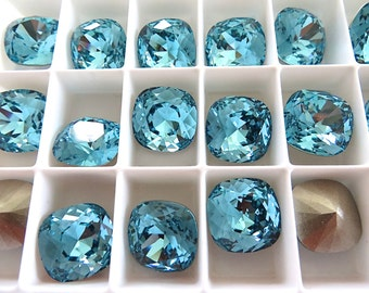 2 Light Turquoise Foiled Swarovski Crystal Square Cushion Cut Stone 4470 12mm