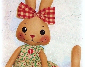 Bunny Rabbit PATTERN, PDF pattern, SEWING pattern, Primitive style, Rag Doll, Softie, Cloth Doll, instant download, digital download