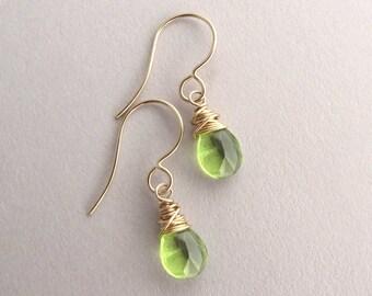 Peridot earrings, Petite gold peridot drop earrings, August birthstone earrings, gemstone earring, dainty dangle earrings