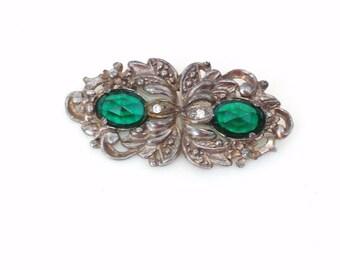 Vintage Emerald Green Brooch | Art Deco Brooch | Rhinestone Brooch | Marcasite Pin | Green Gemstone Brooch | Paul Sargent 24KP