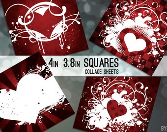 """Valentines Red Heart 3.8"""" and 4x4 Inch Square Digital Collage Sheet Printable Download Scrapbooking Cards Coasters Gift Tags JPG"""