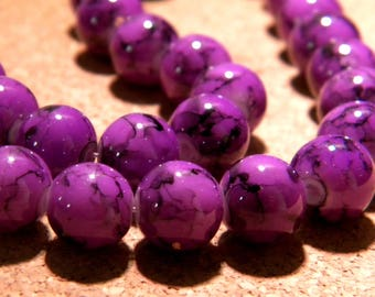 20 black glass beads marbled-10 mm - purple - mottled - PF17