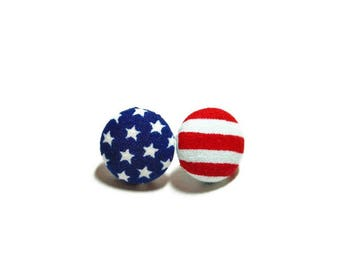 USA Flag Earrings, Red, White, & Blue Button Earrings, Small Fabric Studs, Cover Button Jewelry, Nickel-free Earrings, Titanium Jewelry
