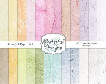 Grunge Digital Paper Pack  - Personal and Commercial Use - Set 1