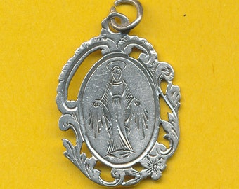 Antique Sterling Silver Religious charm pendant Medal - Miraculous Medal (ref 0908)