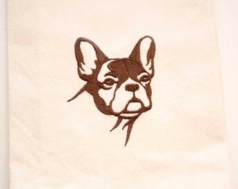 French Bulldog Tea Towel   Dog Lover Gift   Embroidered Kitchen Towel   Embroidered Towel   Embroidered Tea Towel   Hand Towel   Dish Towel