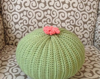 Knit Cactus Pillow--Light Green