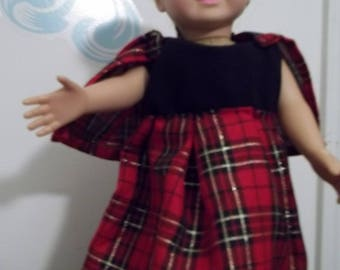 "18"" doll Red and Black Plaid Cape outfit 345E"
