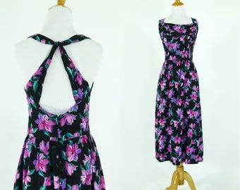 Vintage 1980s Dress   80s Floral Print Purple and Black Backless Lanz Sundress   Medium M