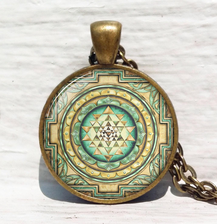 Sri yantra pendant sacred geometry jewelry sri yantra zoom aloadofball Image collections