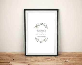 """Garden Quote Print, """"If I Had a Flower..."""" Instant Digital Download Printable, Artwork"""