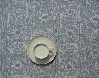 Tablecloth white grey abstract flowers floral decor , table runner , napkins , curtains , pillows available, great GIFT