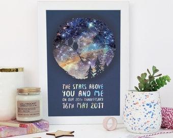 Owl Couple Star Map Print - Personalised Print - Wedding Gift - Anniversary Gift - Paper Anniversary - Boyfriend Gift - Nerd Couple