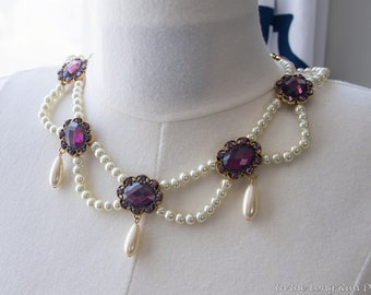 Regency Reproduction Amethyst and Pearl Festoon Necklace. Georgian, Colonial, 18th Century, 19th Century, Victorian, Historical.