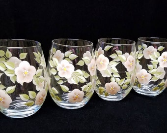 Hand Painted Stemless Wine Glasses, Beige Flowers