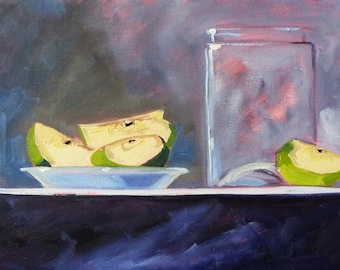 Still Life, Oil Painting, Original, Kitchen Wall Decor, 9x12, Canvas