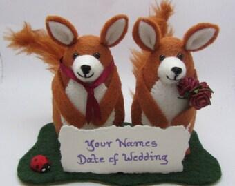 Wedding Fox - Fox Wedding Cake Topper - Bride and Groom Fox - Felt Fox - FULLY CUSTOMISABLE