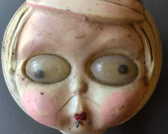 Vintage Creepy Doll Head Baby Rattle Creepy Haunted House Halloween RARE