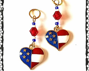 Hearing Aid Charms:  Patriotic American Flag Hearts with Glass Accent Beads!  Also available in matching Mother Daughter Sets!