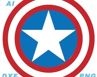 Captain America Shield Vector Files, ai, dxf, svg, eps, jpg, png, pdf, cricut, instant download, Avengers Infinity War