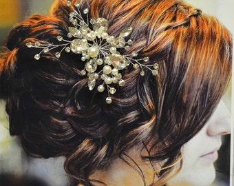 Paris Bridal Hair Comb, Wedding Hair Accessories, Pearl and Crystal Hair Comb, Wedding Hair Pin, Floral Bridal Headpiece, Hair Pin