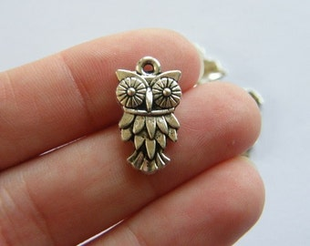 8 Owl charms antique silver tone B296