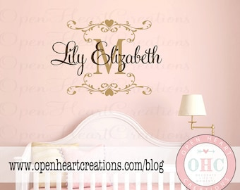 Baby Name Wall Decal with Elegant Shabby Chic Accent Frame - Nursery Girl Vinyl Wall Decal Monogram 22H x 32W FN0443