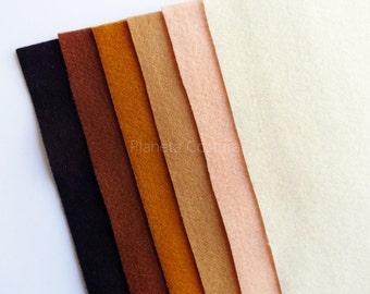 Pack fieltro, láminas fieltro, rollo fieltro, fieltro acrilico, 6 piezas, tamaño 25 cm x 45 cm, cuadrados de fieltro, hojas de fieltro