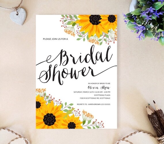 Sunflower Bridal Shower Invitations Printed On Premium Paper