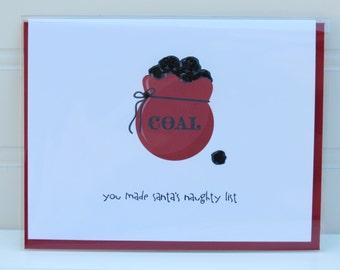 Funny Christmas Card, Santa Naughty List, Bag of Coal, Sarcastic Card, Funny Holiday Card, Husband, Boyfriend, Child, BFF, Wife, Girlfriend