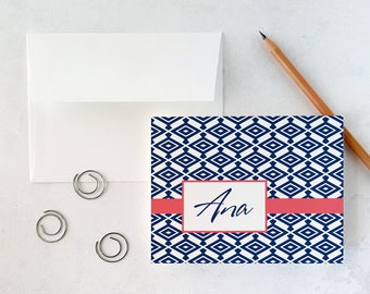 Personalized Stationery | Notecards with Envelopes | Personal Stationary | DIAMOND PATTERN | Custom Note Cards | Folded Stationery Notecards