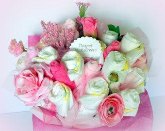 Baby Shower Centerpiece - Diaper Bouquet - Flower Bouquet - New Mom Gift - Shower Decorations - Baby Shower Gift - Girl Baby Shower
