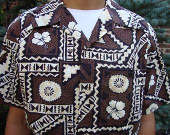 Mod vintage shirt brown Hawaiian cotton Ui Maikai Cotton Totem Print  Tropical Tiki Aloha Hippie Bohemian Resort Beach Hipster Gift for him