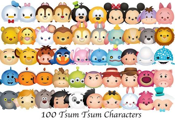 tsum tsum characters 100 high resolution digital clipart rh etsy com disney frozen characters clipart disney character clipart images